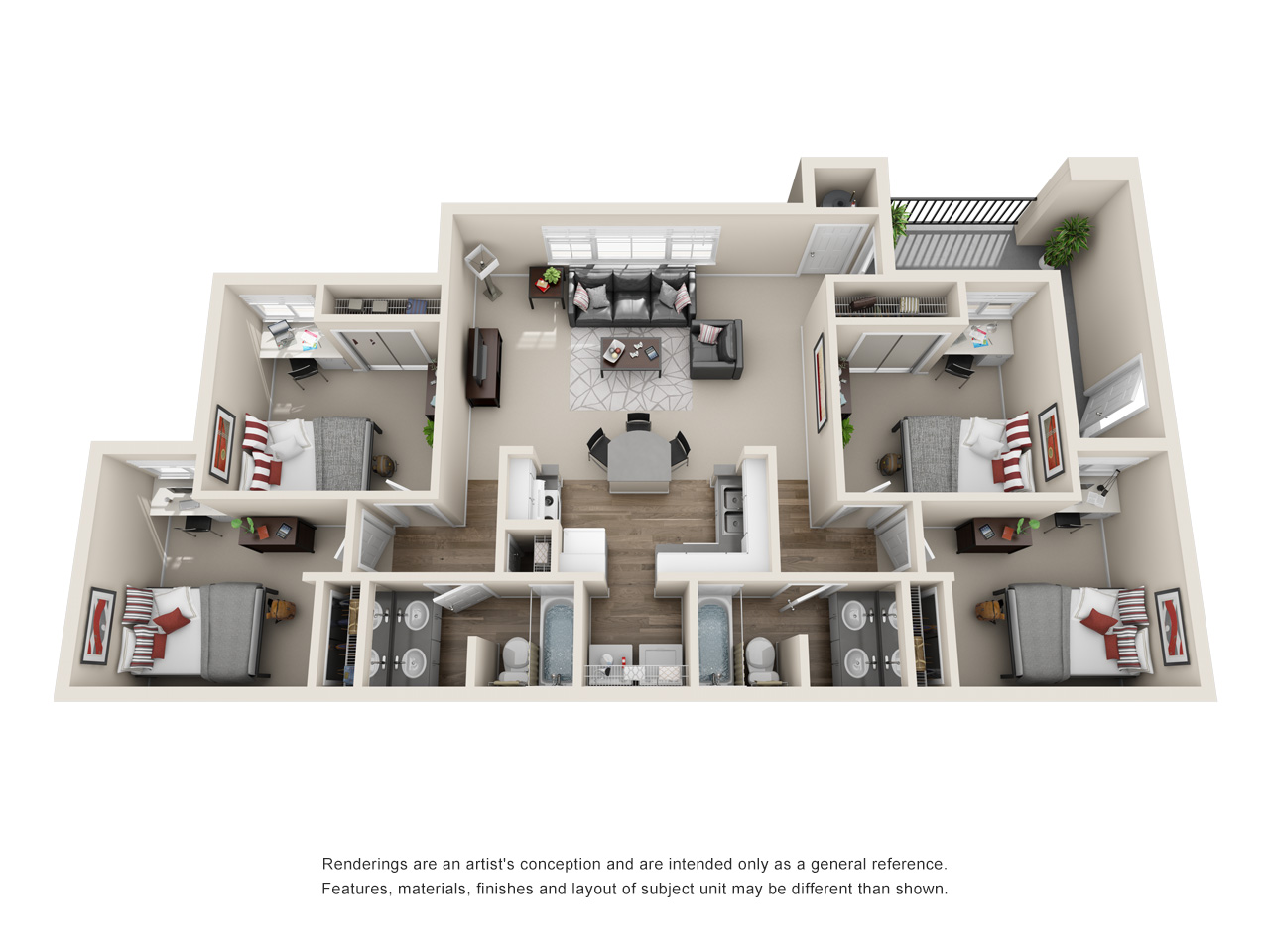 Floor plan of a four-bedroom apartment
