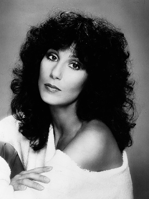 Black and white photo of Cher